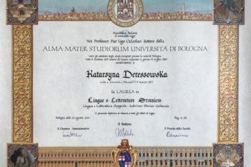 Diploma di laurea magistrale in Lingue e Letterature Straniere, Università degli Studi di Bologna